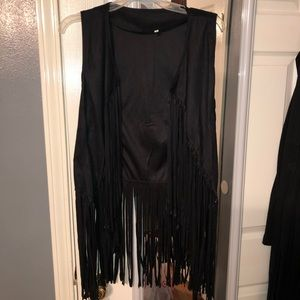 Other - Black suede fringe vest never worn, size large